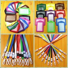 Hot 10PCS ID Leather Card Holder Card Case Badge Necklace Neck Strap Lanyard