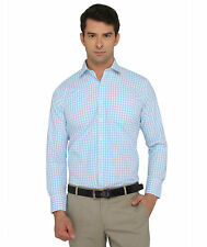Donear Nxg White/Blue Color Poly Cotton Formal Shirt