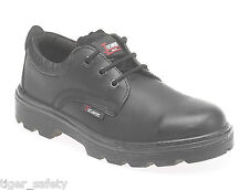 Toesavers 1410 S3 SRC Black Leather 3 Eyelet Steel Toe Cap Safety Work Shoes PPE