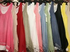 Ladies Tunic Summer Top Dress Sleeveless Plain Cotton Lace Dropped Corners Italy