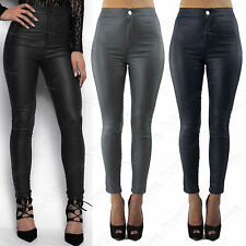 NEW WOMENS LADIES HIGH WAIST BLACK PU JEANS LEATHER LOOK SKINNY STRETCH TROUSER