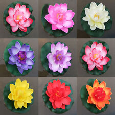 Pretty Artificial Lotus Water lily Floating Flower Pond Tank Plant Ornament 10cm