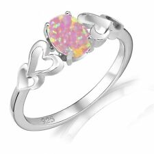 Oval Cut Promise Engagement Pink Fire Opal Love Four Heart Sterling Silver Ring