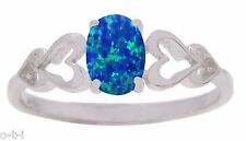 Oval Cut Promise Engagement Blue Fire Opal Love Four Heart Sterling Silver Ring