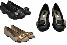 New Womens Ladies slip on low heel Office party formal Comfort Pumps court shoes