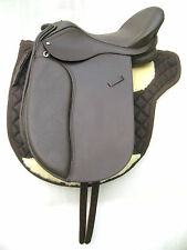 """New"" Leather Dressage Treeless Saddle Brown Size 16"" 17""&18"" Horse Wear Saddles"