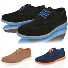 MENS BOYS BROGUE SUEDE COLOURED SOLE LACE UP CASUAL SMART SHOES SIZE  6-12