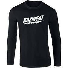 Long Sleeve Black T-Shirt with White Bazinga Design -The Big Bang Theory Sheldon