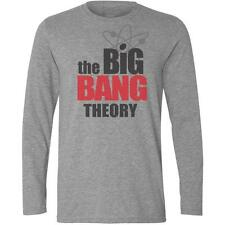 Long Sleeve Grey T-Shirt with THE BIG BANG THEORY Logo - Sheldon Cooper Penny