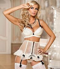 AXAMI SET Push-up BH + String + Strumpfhalter V-4281 Dessous Cup 80 85 ABCD