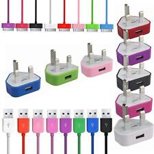 Colour USB Data SYNC Lead Cable & Main charger for iPhone 4 4S 3G 3GS iPod touch