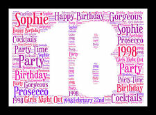 PERSONALISED WORD ART 18th 21st 30th 50th 60th BIRTHDAY GIFT PRINT BESPOKE A4
