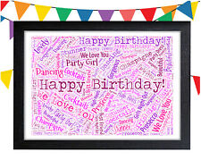 PERSONALISED BIRTHDAY GIFT WORD ART PRINT PRESENT IDEA 21ST 30TH 40TH 50TH 60TH