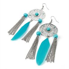 Coloured Disc Feather and Chain Drop Burn Silver Tone Earrings Costume Jewellery