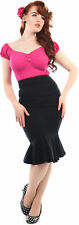 Collectif WINIFRED 50s Ruffle Classic Vintage FISHTAIL Skirt ROCK Blk Rockabilly