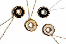 Circle round mother of pearl, black onyx pendant necklace gold plated