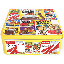 Kelloggs Yellow Tin Storage Box Kitchen Food Cake Biscuit Canister Container New