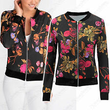 NEW LADIES BLACK PINK FLORAL PRINT BOMBER JACKET ZIP UP WOMENS BIKER LOOK COAT