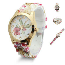 Flower Fashion Jelly Gel Silicon Girl Women's Analog Quartz Wrist Watch Gift