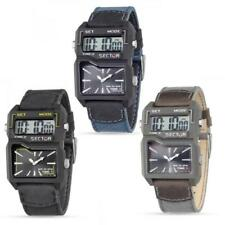 Orologio SECTOR EXPANDER STREET FASHION Dual Time Analogic Digitale Pelle Canvas