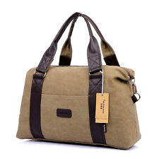 Vintage Men Canvas Duffle Bag Holdall Weekend Shoulder Bag Overnight Luggage NWT
