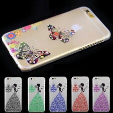 Butterfly Transparent Hard Back Bling Diamond Case Cover For Apple IPhone 6/6S