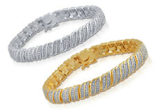 Natural Diamond Wave Tennis Bracelet in Gold or Silver Plated Brass 0.25ct