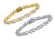 White/ Yellow Gold Plated Brass Cable Link Bracelet with Diamonds and Accents