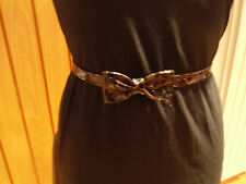 Ladies Fashion Skinny Black/Brown Crocodile Print Leather Bow Belt From £16.99