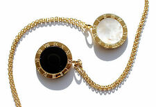 Circle round pendant necklace mother of pearl , black onyx