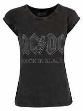 AC/DC 'Back In Black' Lavaggio Acido T-Shirt da donna - NUOVO E ORIGINALE