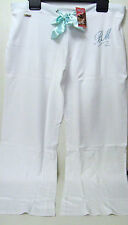 QUALITY WHITE TURQUOISE DIAMANTE COTTON LOUNGE JOGGERS SWEAT PANTS - 10-12 -BNWT