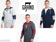 MEN'S SEVEN GRAND DYLAN HOODY - GREY/CHARCOAL/NAVY BLUE - SIZE MEDIUM **NEW**