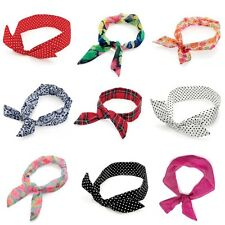 Patterned Fabric Knot Wired Wire Headband Hair Wrap Band Various Designs