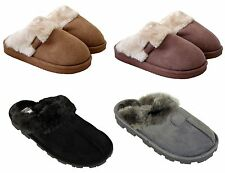 NEW LADIES WOMENS SLIP ON WINTER WARM FUR LINED MULES HARD SOLE SLIPPER SHOES