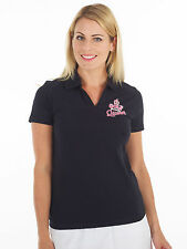 Bunker Mentality Womens Golf Saved The Queen Clubhouse Polo - Black RRP £45