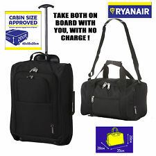 Ryanair Cabin Approved 55x40x20 & Second 35x20x20 Hand Luggage Carry On Bag Set