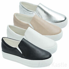 bbd694451e6 AnnaKastle New Womens Solid Faux Leather Platform Slip-On Sneaker US 5 6 7 8
