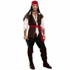 Mens Caribbean Pirate Jack Sparrow Fancy Dress Costume Halloween Idea