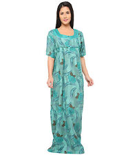 Valentine Women's Printed Green Long Cotton Nighty