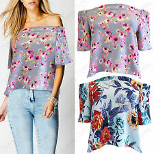 LADIES FLORAL BARDOT FRILL SHORT SLEEVE SWING TOP WOMEN OFF SHOULDER LOOK BLOUSE