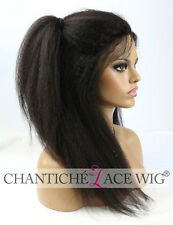 Italian Yaki Lace Front Human Hair Wigs Black Women 6A Indian Remy Full Lace Wig
