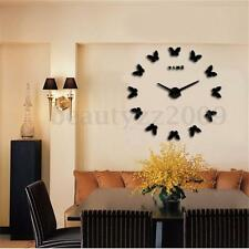 OROLOGIO DA PARETE ADESIVO DECORAZIONE 3D DIY HOME BUTTERFLY WALL CLOCK STICKER