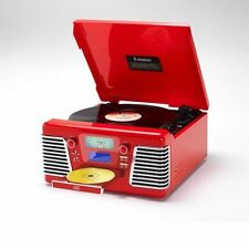 Steepletone Roxy 3 Encode Record Player USB SD Flash MP3 CD 3 Speed Radio Red