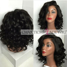 """6"""" Parting Short Curly Wig Brazilian Remy Human Hair Lace Front Wigs Black Women"""