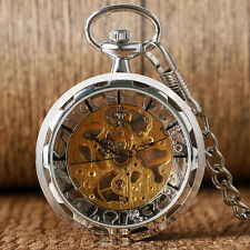 Luxury Transparent Skeleton Silver/Gold Pocket Watch Mechanical Hand Wind Gift