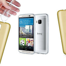 Gold Transparent Silicone Gel Case Cover For HTC Desire 620 / 820 / M8 / M9  TPU