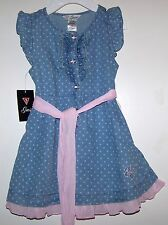 NWTS GUESS BABY GIRLS SOFIA POLKA DOT DENIM DRESS SIZES 12,18,24 MONTHS COTTON