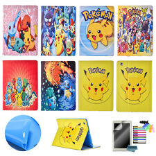 Pikachu Pokemon Cartoon Case for iPad Air Mini PU Leather Stand Cover Flip Skin