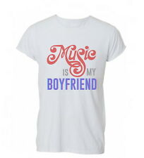 Womens Music Is My Boyfriend Lovers Funny Cool Tshirt T-Shirt